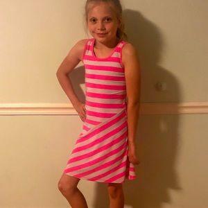 Pink striped summer dress